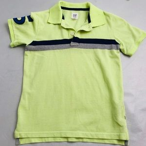 Gap neon yellow short sleeve polo with navy stripe